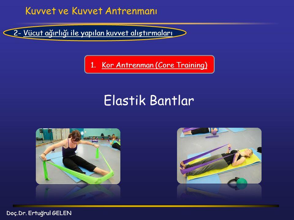 Kuvvet ve Kuvvet Antrenmanı Doç.Dr. Ertuğrul GELEN 2- Vücut ağırlığı ile yapılan kuvvet alıştırmaları 1.Kor Antrenman (Core Training) Elastik Bantlar