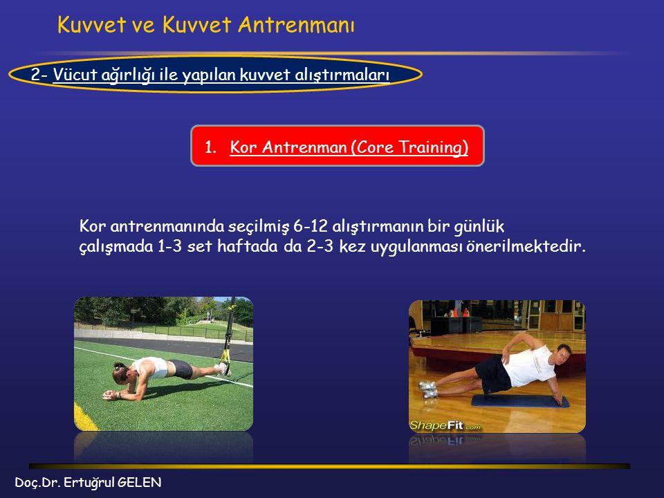 Kuvvet ve Kuvvet Antrenmanı Doç.Dr. Ertuğrul GELEN 2- Vücut ağırlığı ile yapılan kuvvet alıştırmaları 1.Kor Antrenman (Core Training) Kor antrenmanınd