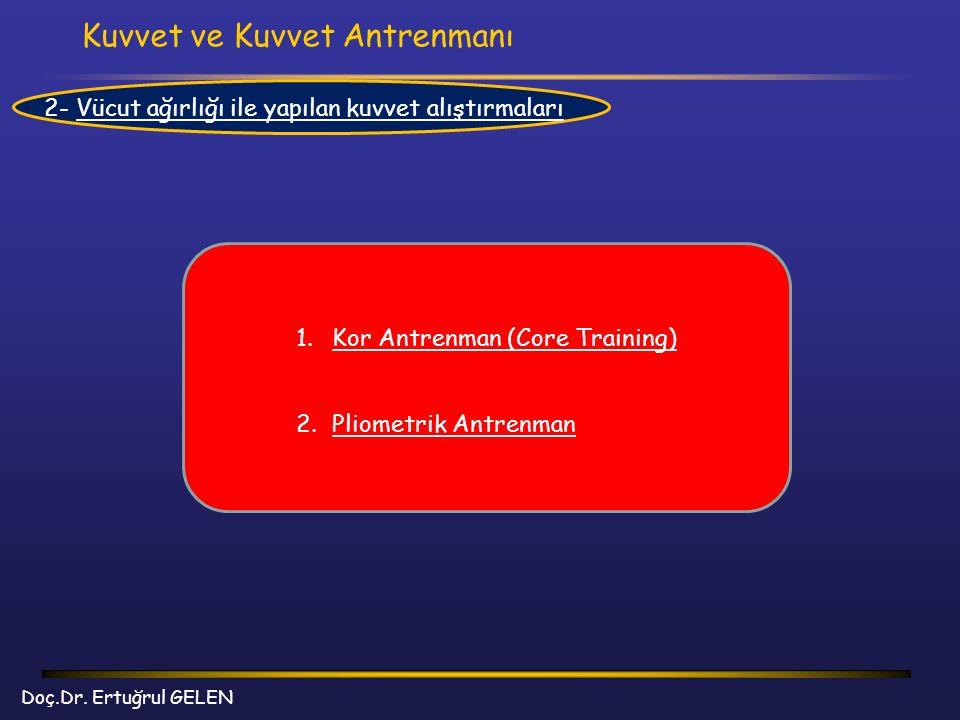 Kuvvet ve Kuvvet Antrenmanı Doç.Dr. Ertuğrul GELEN 2- Vücut ağırlığı ile yapılan kuvvet alıştırmaları 1.Kor Antrenman (Core Training) 2.Pliometrik Ant