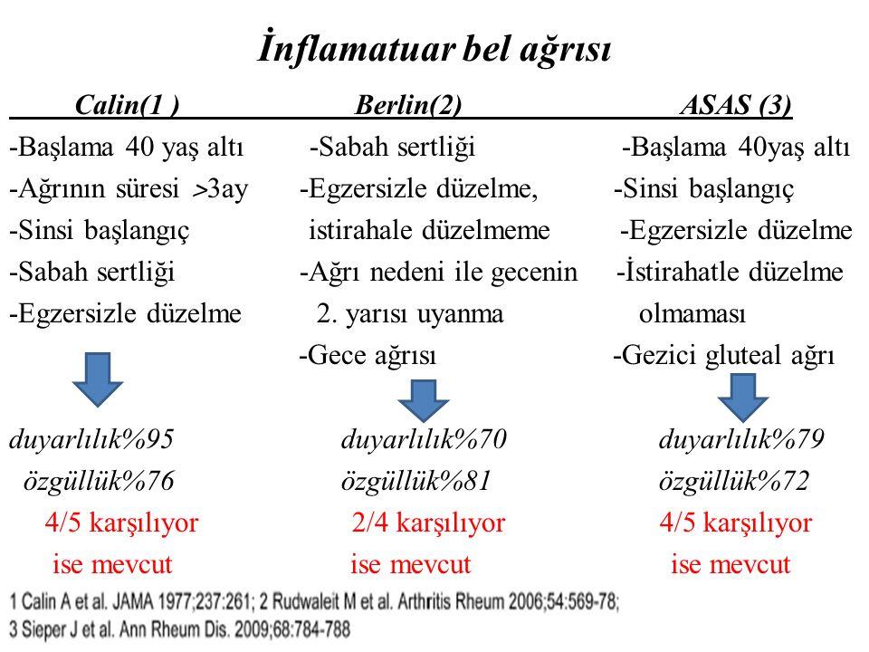 İnflamatuar bel ağrısı Calin(1 ) Berlin(2) ASAS (3) -Başlama 40 yaş altı -Sabah sertliği -Başlama 40yaş altı -Ağrının süresi ˃ 3ay -Egzersizle düzelme