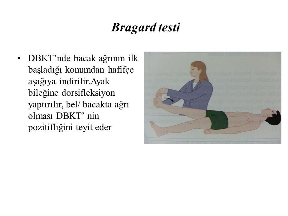 Bragard testi DBKT'nde bacak ağrının ilk başladığı konumdan hafifçe aşağıya indirilir.Ayak bileğine dorsifleksiyon yaptırılır, bel/ bacakta ağrı olmas