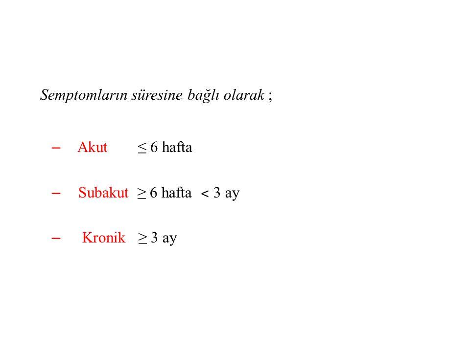 Semptomların süresine bağlı olarak ; – Akut ≤ 6 hafta – Subakut ≥ 6 hafta ˂ 3 ay – Kronik ≥ 3 ay