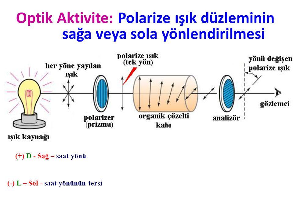 Optik Aktivite: Polarize ışık düzleminin sağa veya sola yönlendirilmesi (+) D - Sağ – saat yönü (-) L – Sol - saat yönünün tersi
