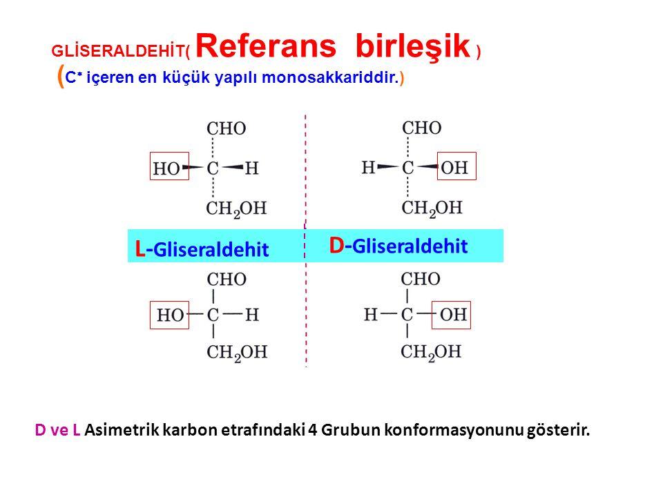 GLİSERALDEHİT( Referans birleşik ) ( C  içeren en küçük yapılı monosakkariddir.) D ve L Asimetrik karbon etrafındaki 4 Grubun konformasyonunu gösteri