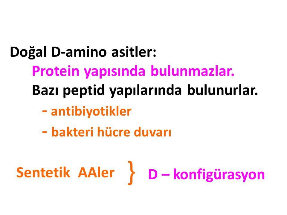 Doğal D-amino asitler: Protein yapısında bulunmazlar. Bazı peptid yapılarında bulunurlar. - antibiyotikler - bakteri hücre duvarı Sentetik AAler D – k