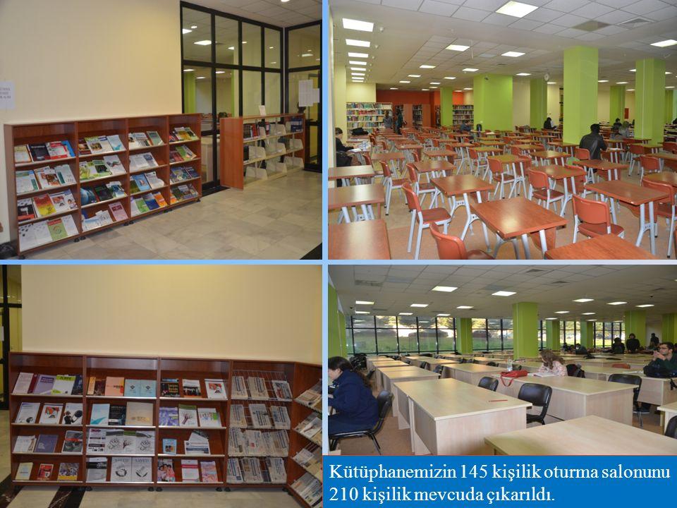 Kütüphanemizin 145 kişilik oturma salonunu 210 kişilik mevcuda çıkarıldı.