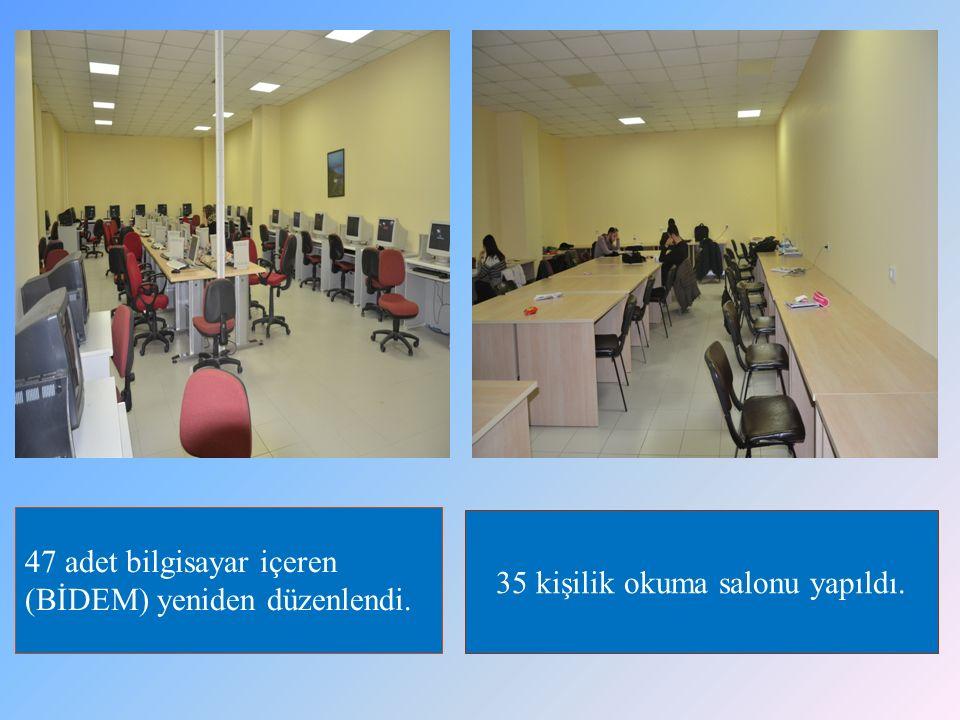 35 kişilik okuma salonu yapıldı. 47 adet bilgisayar içeren (BİDEM) yeniden düzenlendi.