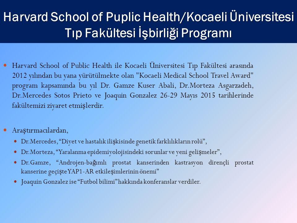 Harvard School of Puplic Health/Kocaeli Üniversitesi Tıp Fakültesi İşbirliği Programı Harvard School of Public Health ile Kocaeli Üniversitesi Tıp Fakültesi arasında 2012 yılından bu yana yürütülmekte olan Kocaeli Medical School Travel Award program kapsamında bu yıl Dr.
