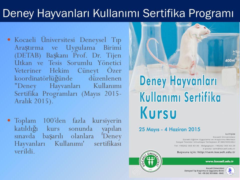 Deney Hayvanları Kullanımı Sertifika Programı Kocaeli Üniversitesi Deneysel Tıp Ara ş tırma ve Uygulama Birimi (DETAB) Ba ş kanı Prof.