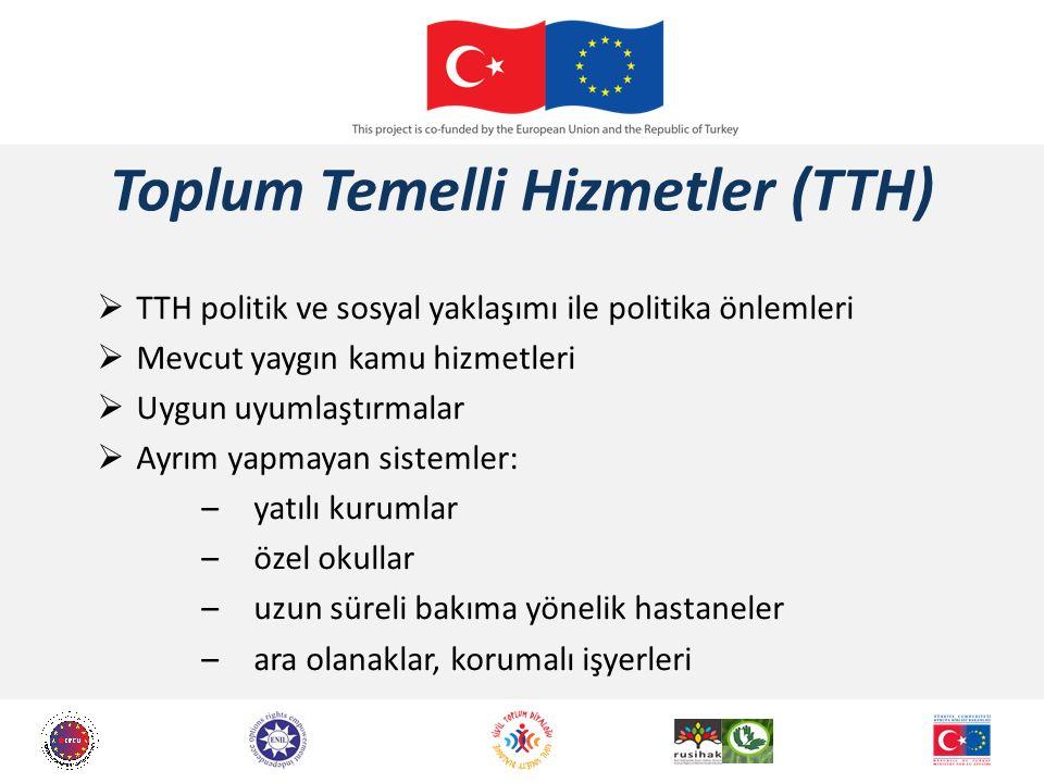 Toplum Temelli Hizmetler (TTH)  TTH politik ve sosyal yaklaşımı ile politika önlemleri  Mevcut yaygın kamu hizmetleri  Uygun uyumlaştırmalar  Ayrı