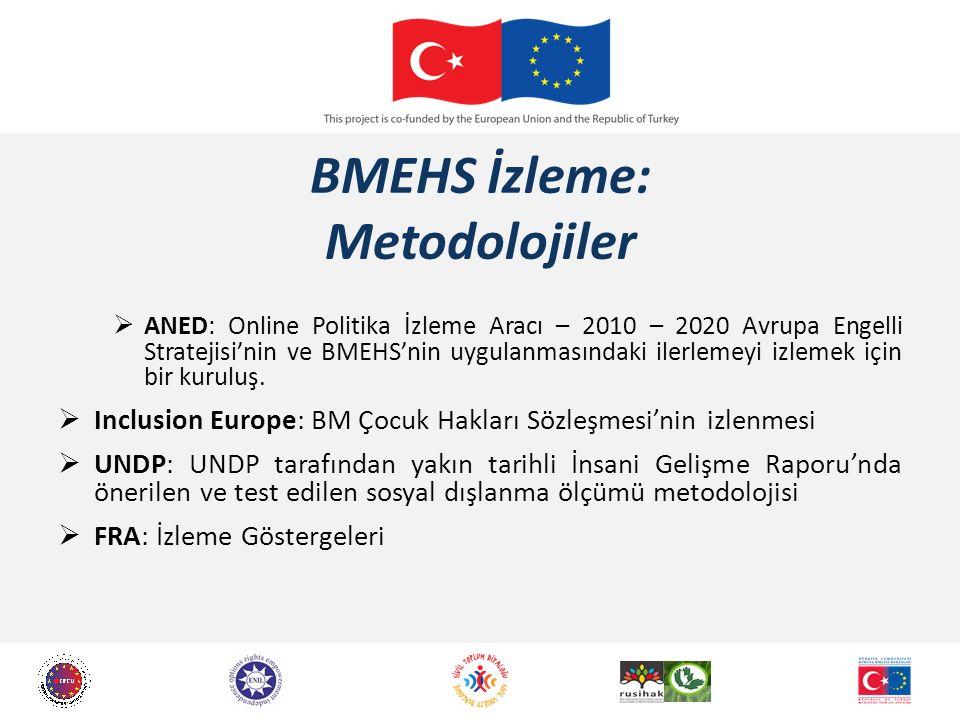 BMEHS İzleme: Metodolojiler  ANED: Online Politika İzleme Aracı – 2010 – 2020 Avrupa Engelli Stratejisi'nin ve BMEHS'nin uygulanmasındaki ilerlemeyi izlemek için bir kuruluş.