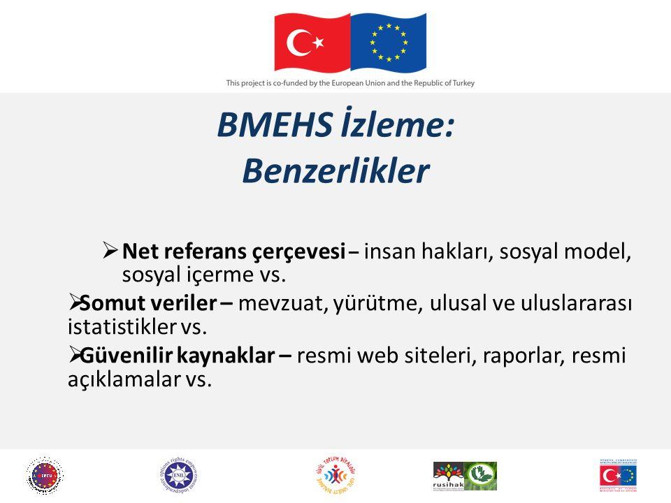 BMEHS İzleme: Benzerlikler  Net referans çerçevesi – insan hakları, sosyal model, sosyal içerme vs.  Somut veriler – mevzuat, yürütme, ulusal ve ulu