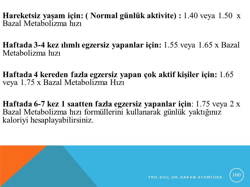 Hareketsiz yaşam için: ( Normal günlük aktivite) : 1.40 veya 1.50 x Bazal Metabolizma hızı Haftada 3-4 kez ılımlı egzersiz yapanlar için: 1.55 veya 1.