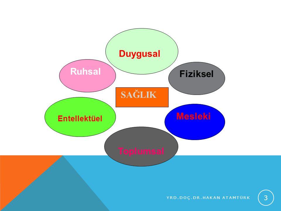 Toplumsal Ruhsal Fiziksel Entellektüel Duygusal Mesleki SAĞLIK YRD.DOÇ.DR.HAKAN ATAMTÜRK 3