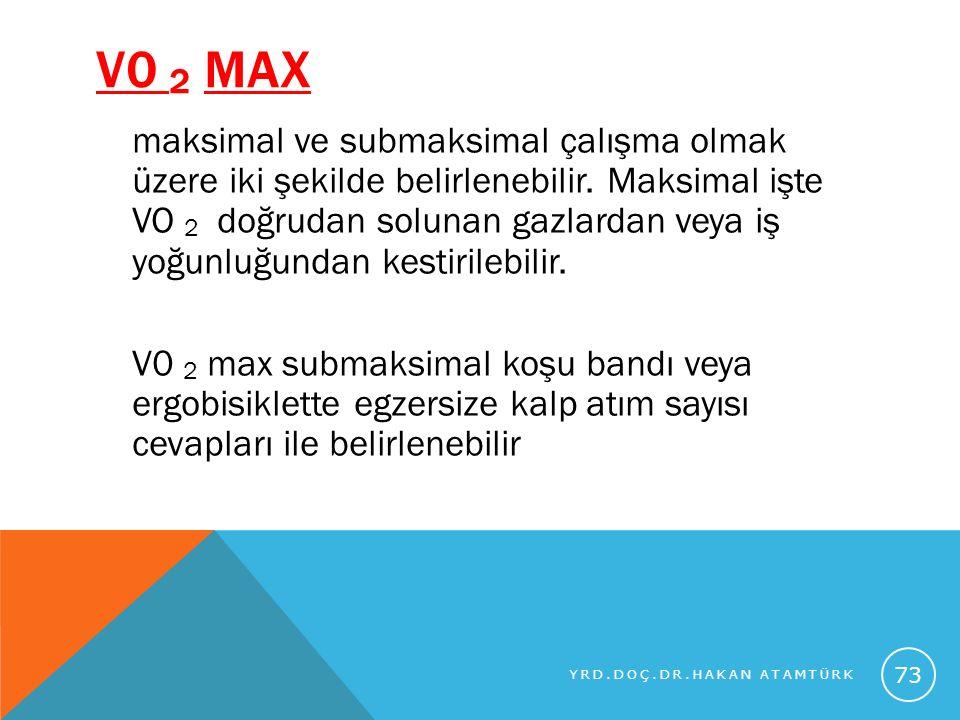 V0 2 MAX maksimal ve submaksimal çalışma olmak üzere iki şekilde belirlenebilir. Maksimal işte VO 2 doğrudan solunan gazlardan veya iş yoğunluğundan k