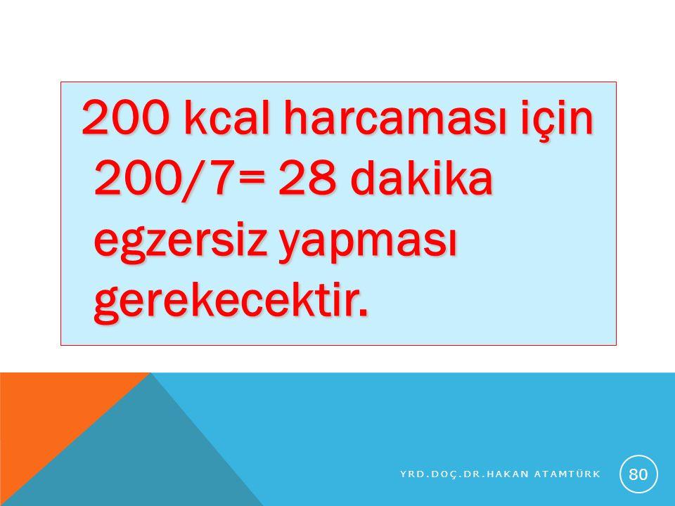 200 kcal harcaması için 200/7= 28 dakika egzersiz yapması gerekecektir. 200 kcal harcaması için 200/7= 28 dakika egzersiz yapması gerekecektir. YRD.DO