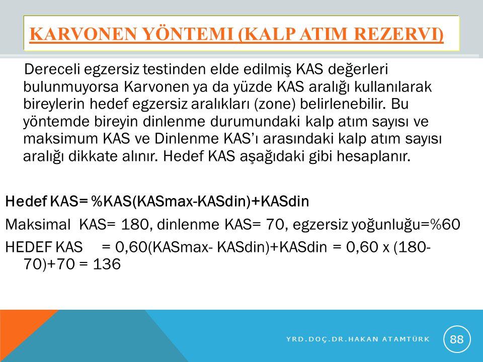 KARVONEN YÖNTEMI (KALP ATIM REZERVI) Dereceli egzersiz testinden elde edilmiş KAS değerleri bulunmuyorsa Karvonen ya da yüzde KAS aralığı kullanılarak