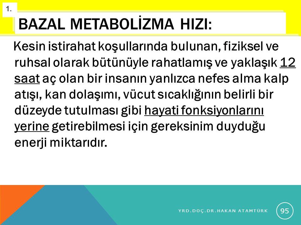 BAZAL METABOLİZMA HIZI: Kesin istirahat koşullarında bulunan, fiziksel ve ruhsal olarak bütünüyle rahatlamış ve yaklaşık 12 saat aç olan bir insanın y