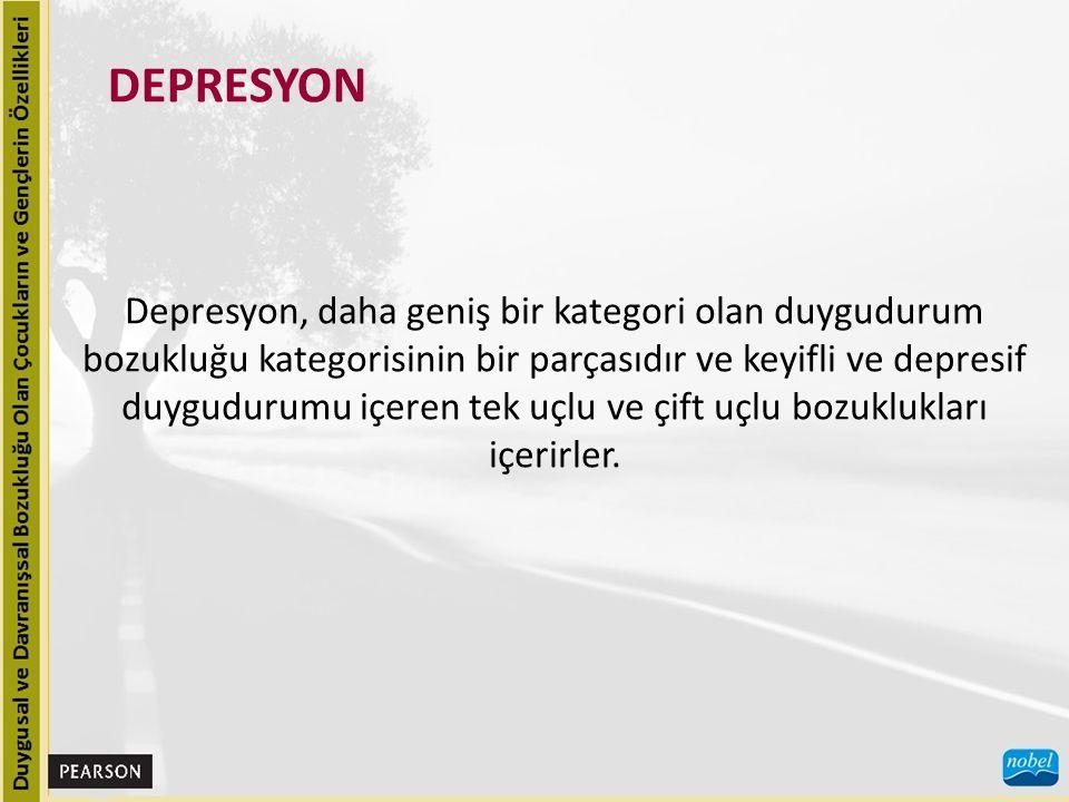 Depresyonun belirtileri çoğu etkinlikten zevk alamamayı, depresif duygudurumu veya sinirliliği, uyku veya iştah bozukluklarını, psikomotor gerginliği veya psikomotor gerilemeyi, enerji kaybını veya yorgunluğu, kendini değersizleştirmeyi veya umutsuzluk duygularını, düşünmede veya konsantre olmada zorluğu ve intihar planını veya intihar girişimini içerir.