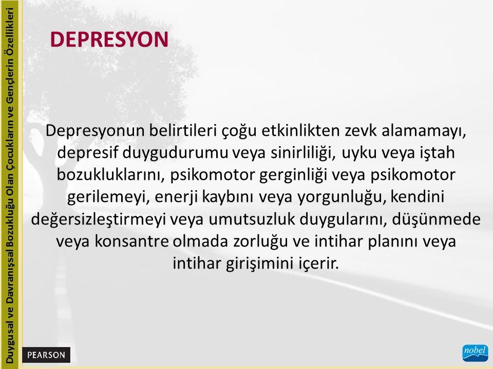 Depresyonun yaygınlığı, yaşı büyük ergenlerde küçük çocuklara göre daha fazladır ve büyük yaşlarda kızlar depresyondan daha çok etkilenir.