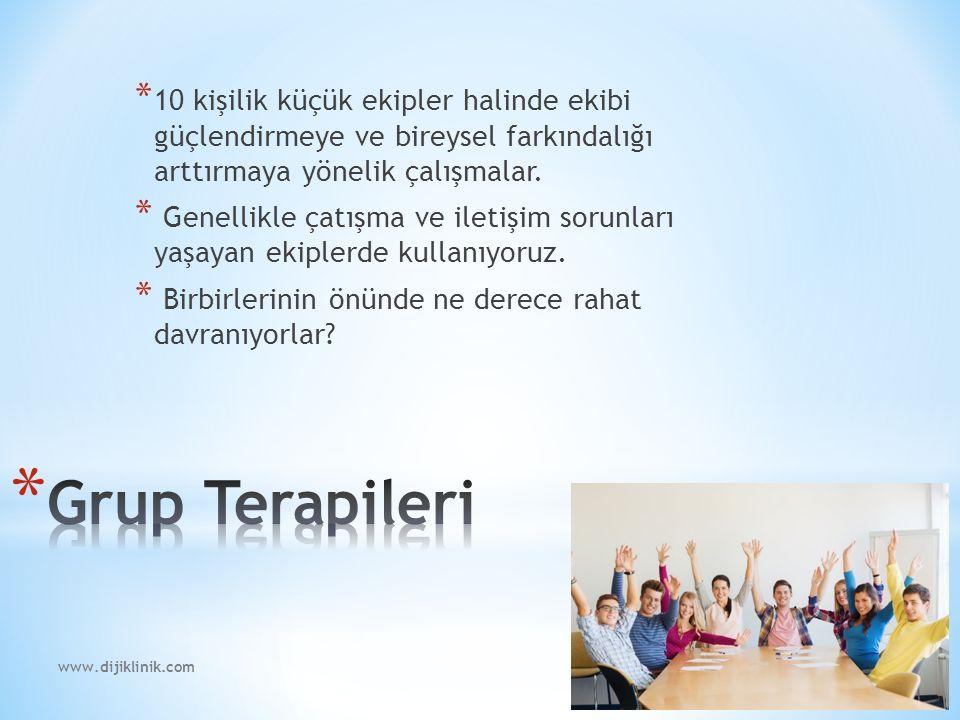www.dijiklinik.com * 10 kişilik küçük ekipler halinde ekibi güçlendirmeye ve bireysel farkındalığı arttırmaya yönelik çalışmalar.