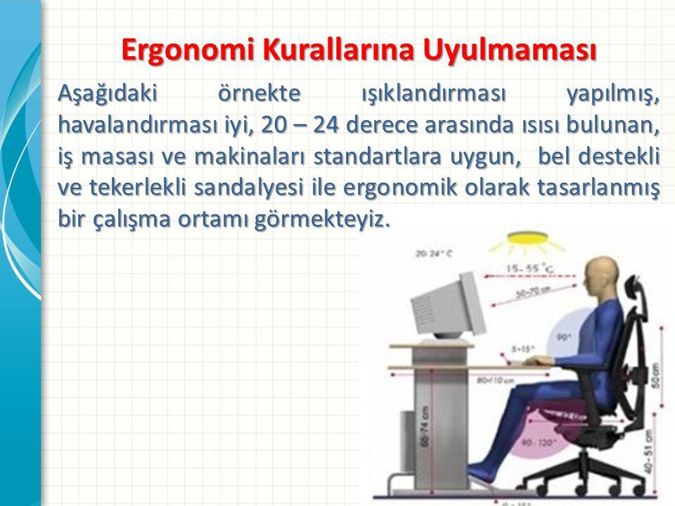 Ergonomi Kurallarına Uyulmaması Aşağıdaki örnekte ışıklandırması yapılmış, havalandırması iyi, 20 – 24 derece arasında ısısı bulunan, iş masası ve makinaları standartlara uygun, bel destekli ve tekerlekli sandalyesi ile ergonomik olarak tasarlanmış bir çalışma ortamı görmekteyiz.