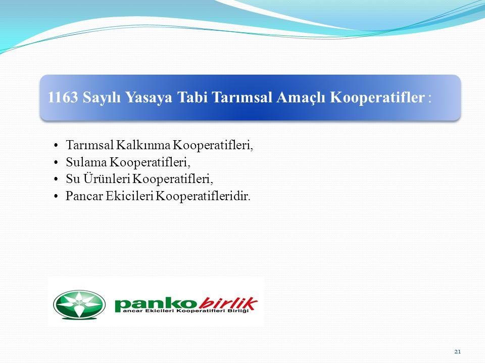 1163 Sayılı Yasaya Tabi Tarımsal Amaçlı Kooperatifler : Tarımsal Kalkınma Kooperatifleri, Sulama Kooperatifleri, Su Ürünleri Kooperatifleri, Pancar Ekicileri Kooperatifleridir.