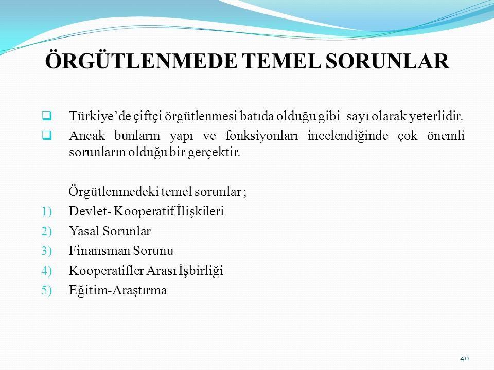 ÖRGÜTLENMEDE TEMEL SORUNLAR  Türkiye'de çiftçi örgütlenmesi batıda olduğu gibi sayı olarak yeterlidir.