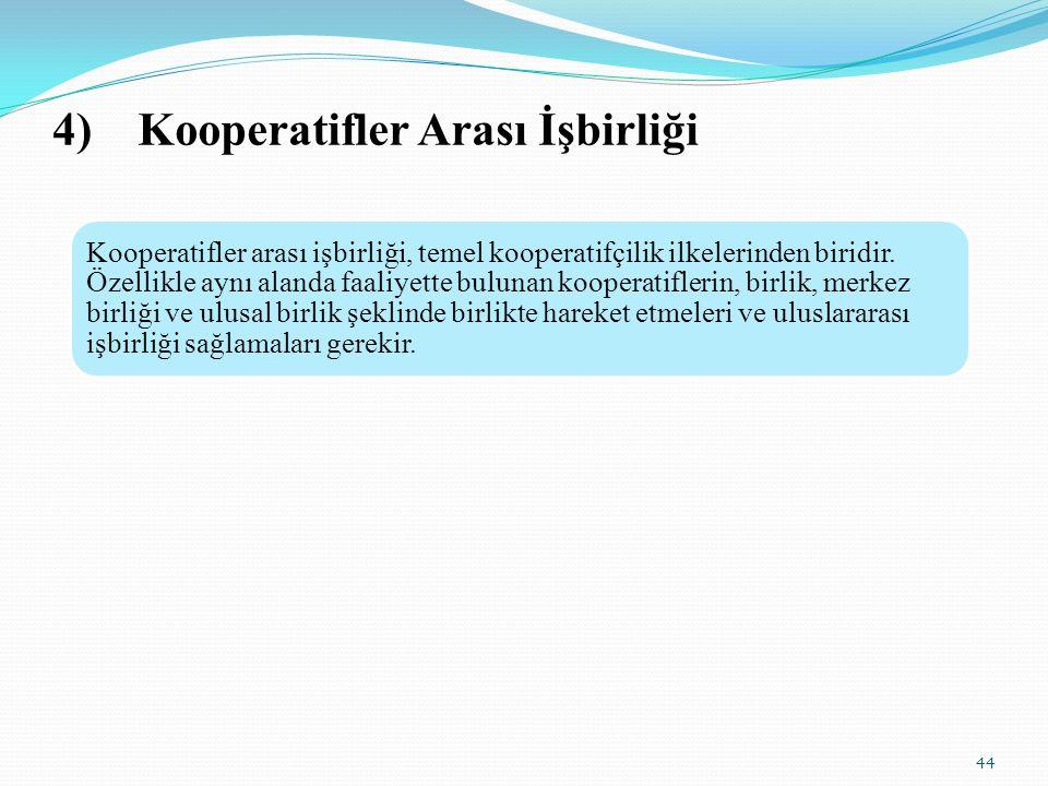 4)Kooperatifler Arası İşbirliği 44 Kooperatifler arası işbirliği, temel kooperatifçilik ilkelerinden biridir.