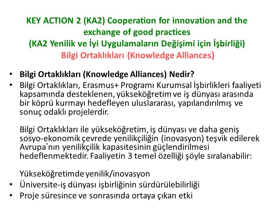 KEY ACTION 2 (KA2) Cooperation for innovation and the exchange of good practices (KA2 Yenilik ve İyi Uygulamaların Değişimi için İşbirliği) Bilgi Ortaklıkları (Knowledge Alliances ) Bilgi Ortaklıkları (Knowledge Alliances) Nedir.