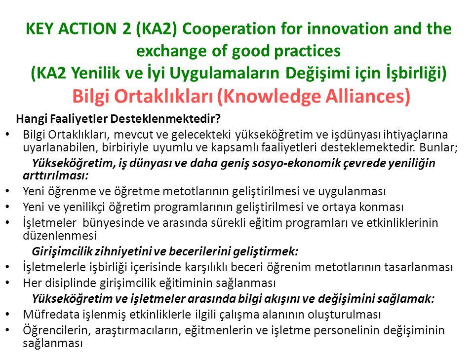 KEY ACTION 2 (KA2) Cooperation for innovation and the exchange of good practices (KA2 Yenilik ve İyi Uygulamaların Değişimi için İşbirliği) Bilgi Ortaklıkları (Knowledge Alliances) Hangi Faaliyetler Desteklenmektedir.