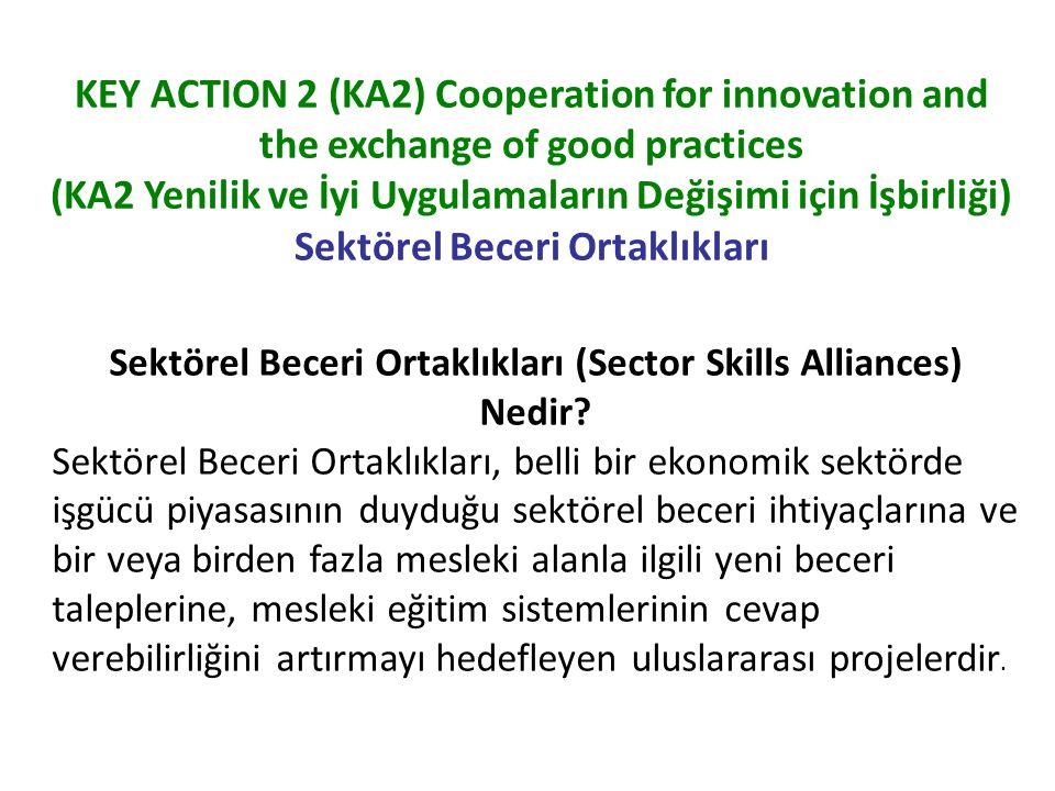KEY ACTION 2 (KA2) Cooperation for innovation and the exchange of good practices (KA2 Yenilik ve İyi Uygulamaların Değişimi için İşbirliği) Sektörel Beceri Ortaklıkları Bu faaliyet kapsamında uygun kabul edilen sektörler şunlardır: Tekstil/Giyim/Deri ve Ticaret gibi Avrupa Sektörel Beceriler Konseylerini oluşturan sektörler, İleri İmalat, Bilgi ve İletişim Teknolojileri, Eko-İnovasyon (çevre teknolojileri) gibi beceri uyuşmazlıkları bulunan ve Avrupa Komisyonu'nun mevcut politikalarıyla müdahale ettiği sektörler, Kültürel ve Yaratıcı Endüstriler Sektörel Beceri Ortaklıklarının temel amaçları şunlardır: Mesleki eğitimin piyasadaki beceri ihtiyaçlarına daha iyi cevap verebilmesi için eğitimi işgücü piyasasına daha yakın hale getirmek, Ekonomik sektörlerin rekabet edebilirliğini artırmak, Mesleki eğitim programlarının kalitesini artırmak, İlgili sektördeki mesleki eğitim sunumunda sistematik bir etki yaratmak, Mesleki eğitimde yenilikçi metotlar geliştirmek, Öğrenme çıktıları yaklaşımı ve kalite güvencesini uygulamaya koymak (ECVET, EQF, EQAVET