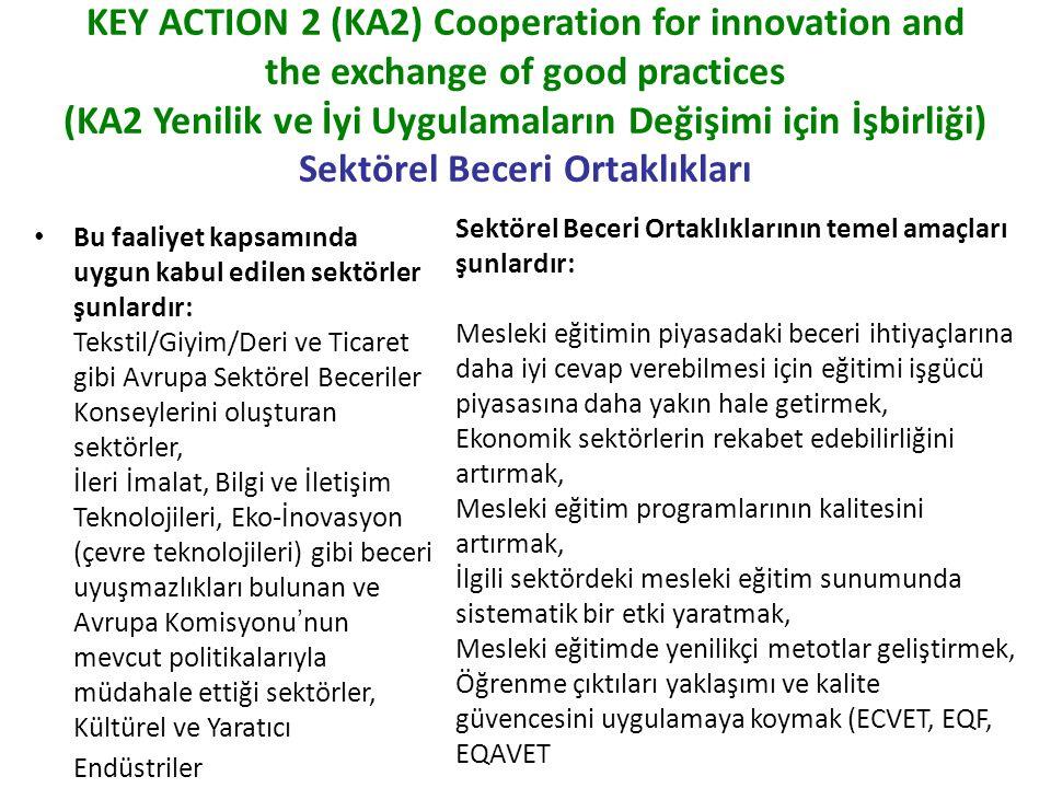 KEY ACTION 2 (KA2) Cooperation for innovation and the exchange of good practices (Yenilik ve İyi Uygulamaların Değişimi için İşbirliği) Sektörel Beceri Ortaklıkları Hangi Faaliyetler Desteklenmektedir.