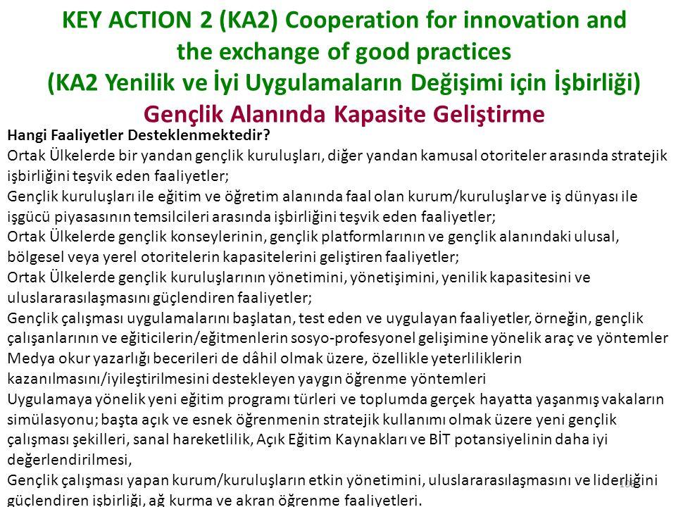 109 KEY ACTION 2 (KA2) Cooperation for innovation and the exchange of good practices (KA2 Yenilik ve İyi Uygulamaların Değişimi için İşbirliği) Gençlik Alanında Kapasite Geliştirme Bir Program Ülkesinde yerleşik herhangi bir kâr amacı gütmeyen kurum/kuruluş, dernek, STK (Avrupa Gençlik STK'ları da dâhil) Ulusal Gençlik Konseyi Yerel, bölgesel veya ulusal seviyede kamu kurum/kuruluşu projede yer alan tüm kurum/kuruluşlar adına başvurabilir.