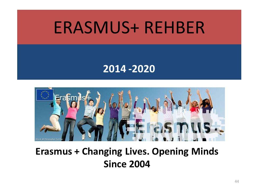 Erasmus + Changing Lives. Opening Minds Since 2004 44 ERASMUS+ REHBER 2014 -2020