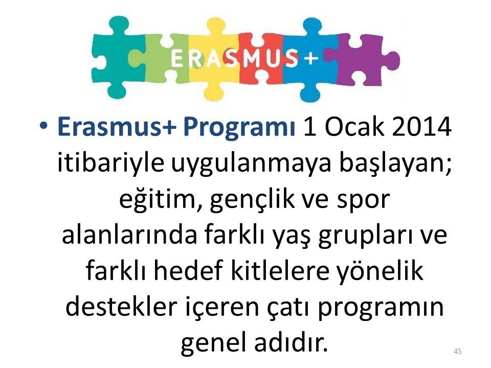 Comenius, Erasmus, Leonardo da Vinci, Grundtvig Uluslararası İşbirliği Programları Erasmus Mundus Tempus Alfa Edulink Sanayileşmiş Ülkelerle İşbirliği Programı Gençlik Programı Hayat Boyu Öğrenme Programları ERASMUS + 2007-20132014-2020 46
