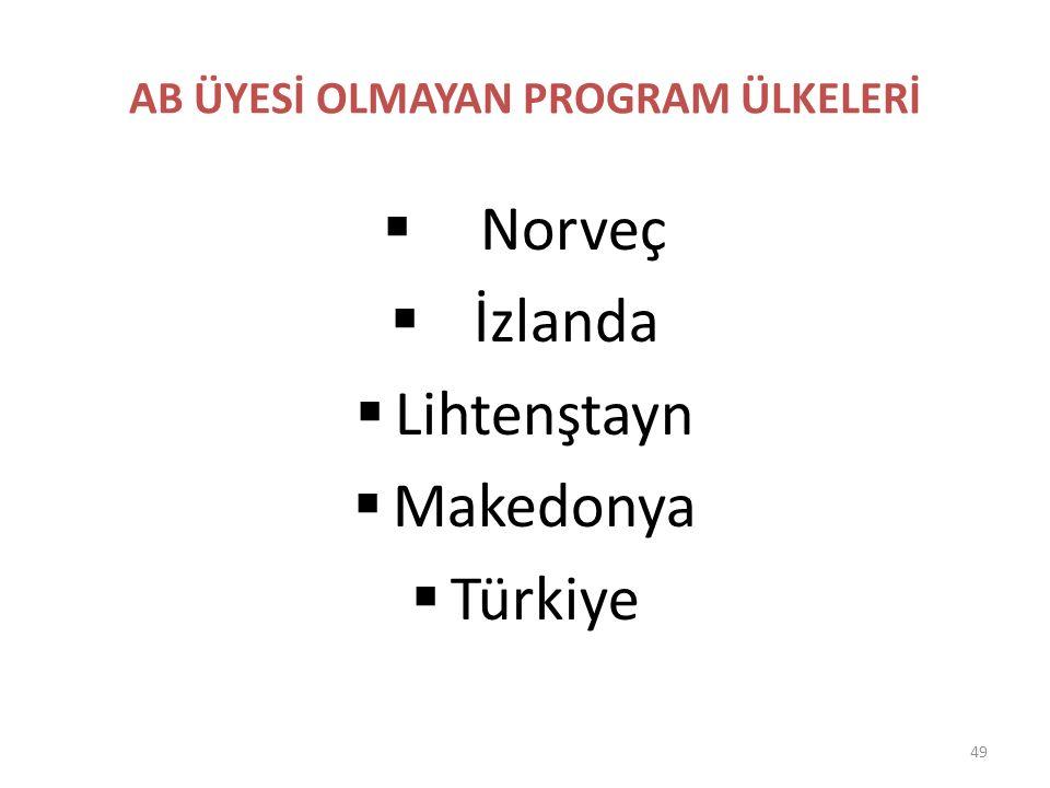 AB ÜYESİ OLMAYAN PROGRAM ÜLKELERİ  Norveç  İzlanda  Lihtenştayn  Makedonya  Türkiye 49