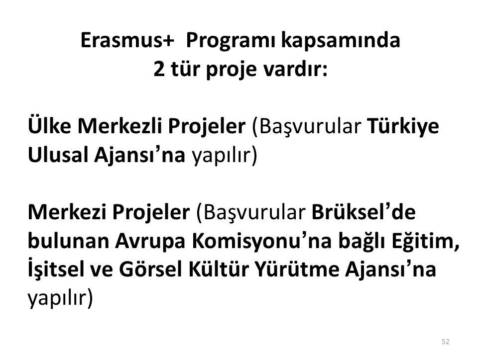 Erasmus+ Programı kapsamında 2 tür proje vardır: Ülke Merkezli Projeler (Başvurular Türkiye Ulusal Ajansı'na yapılır) Merkezi Projeler (Başvurular Brüksel'de bulunan Avrupa Komisyonu'na bağlı Eğitim, İşitsel ve Görsel Kültür Yürütme Ajansı'na yapılır) 52