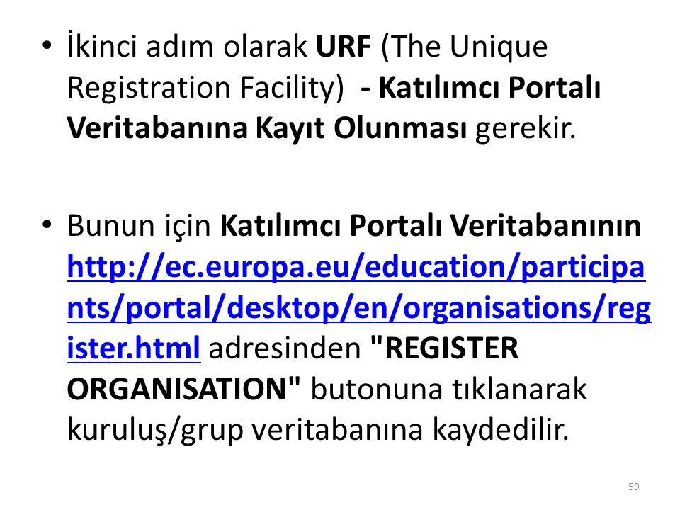 İkinci adım olarak URF (The Unique Registration Facility) - Katılımcı Portalı Veritabanına Kayıt Olunması gerekir.