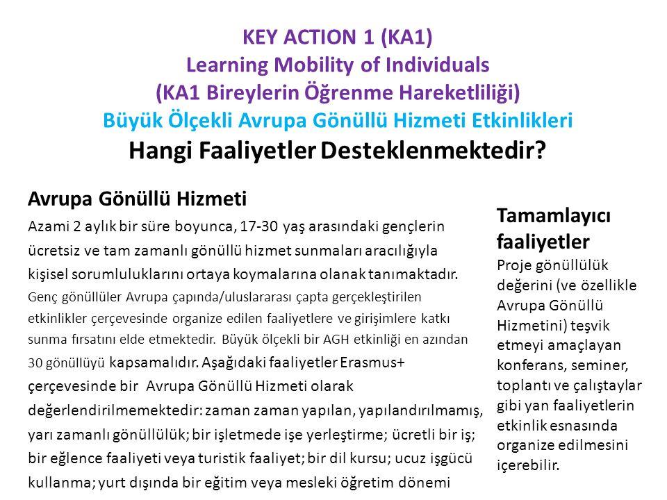 KEY ACTION 1 (KA1) Learning Mobility of Individuals (KA1 Bireylerin Öğrenme Hareketliliği) Büyük Ölçekli Avrupa Gönüllü Hizmeti Etkinlikleri Hangi Faaliyetler Desteklenmektedir.