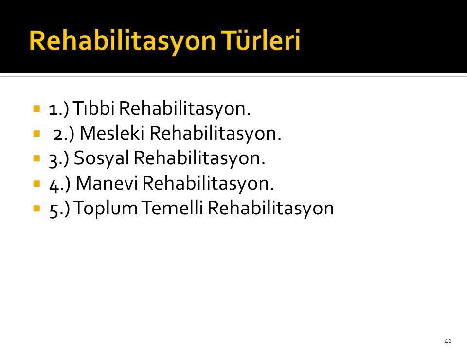  1.) Tıbbi Rehabilitasyon.  2.) Mesleki Rehabilitasyon.  3.) Sosyal Rehabilitasyon.  4.) Manevi Rehabilitasyon.  5.) Toplum Temelli Rehabilitasyo