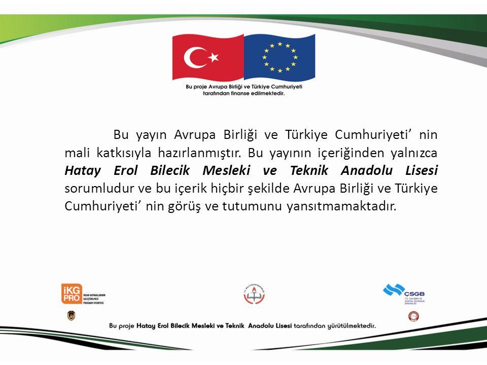 Bu yayın Avrupa Birliği ve Türkiye Cumhuriyeti' nin mali katkısıyla hazırlanmıştır.