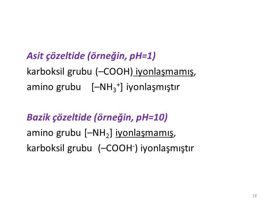 Asit çözeltide (örneğin, pH=1) karboksil grubu (–COOH) iyonlaşmamış, amino grubu [–NH 3 + ] iyonlaşmıştır Bazik çözeltide (örneğin, pH=10) amino grubu [–NH 2 ] iyonlaşmamış, karboksil grubu (–COOH - ) iyonlaşmıştır 18