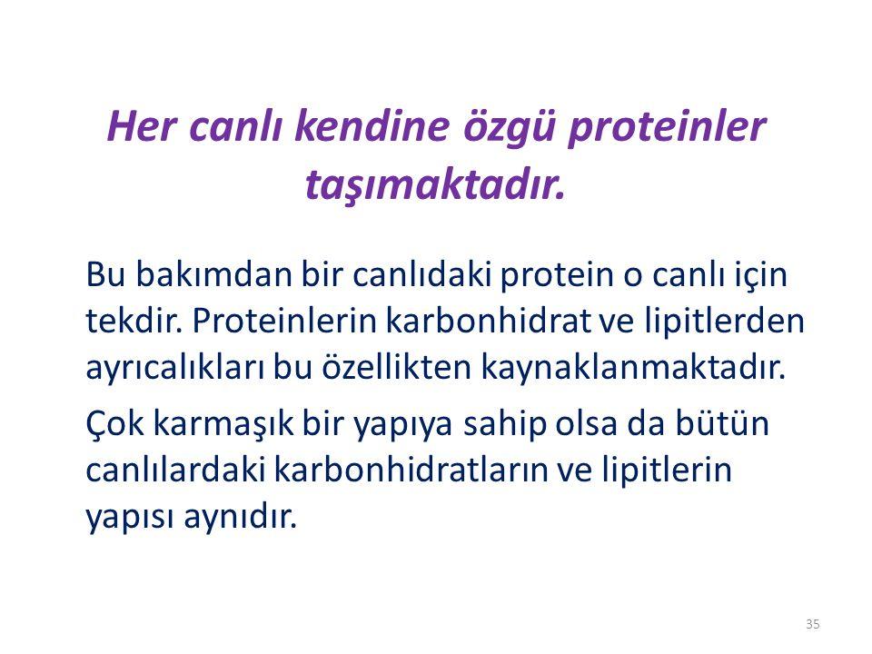 Her canlı kendine özgü proteinler taşımaktadır. Bu bakımdan bir canlıdaki protein o canlı için tekdir. Proteinlerin karbonhidrat ve lipitlerden ayrıca