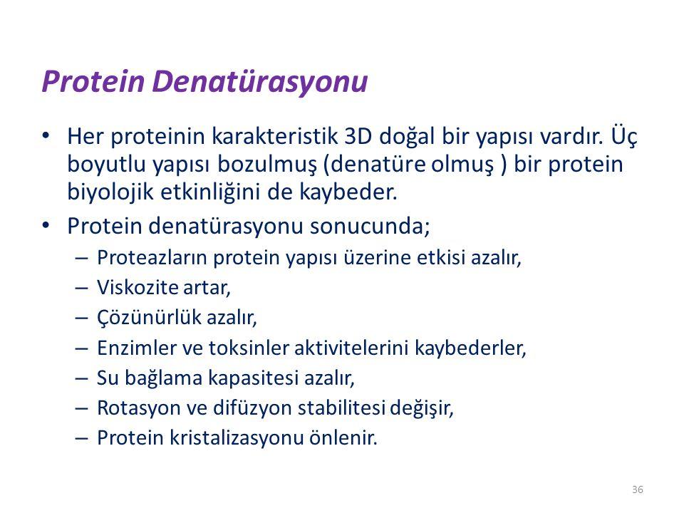 Protein Denatürasyonu Her proteinin karakteristik 3D doğal bir yapısı vardır. Üç boyutlu yapısı bozulmuş (denatüre olmuş ) bir protein biyolojik etkin