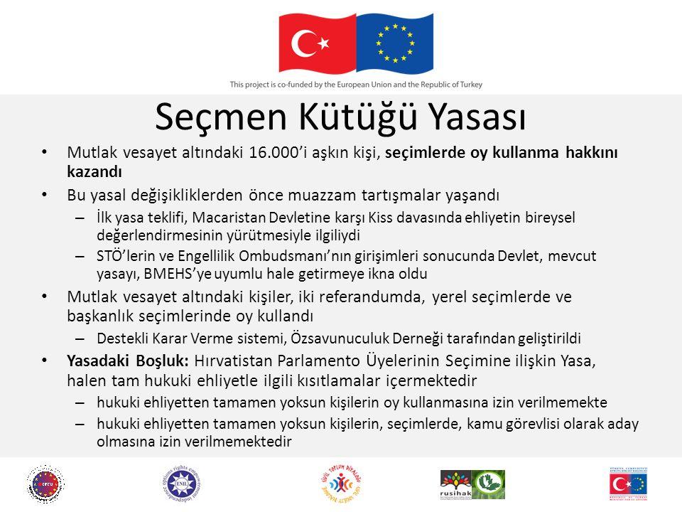 Seçmen Kütüğü Yasası Mutlak vesayet altındaki 16.000'i aşkın kişi, seçimlerde oy kullanma hakkını kazandı Bu yasal değişikliklerden önce muazzam tartışmalar yaşandı – İlk yasa teklifi, Macaristan Devletine karşı Kiss davasında ehliyetin bireysel değerlendirmesinin yürütmesiyle ilgiliydi – STÖ'lerin ve Engellilik Ombudsmanı'nın girişimleri sonucunda Devlet, mevcut yasayı, BMEHS'ye uyumlu hale getirmeye ikna oldu Mutlak vesayet altındaki kişiler, iki referandumda, yerel seçimlerde ve başkanlık seçimlerinde oy kullandı – Destekli Karar Verme sistemi, Özsavunuculuk Derneği tarafından geliştirildi Yasadaki Boşluk: Hırvatistan Parlamento Üyelerinin Seçimine ilişkin Yasa, halen tam hukuki ehliyetle ilgili kısıtlamalar içermektedir – hukuki ehliyetten tamamen yoksun kişilerin oy kullanmasına izin verilmemekte – hukuki ehliyetten tamamen yoksun kişilerin, seçimlerde, kamu görevlisi olarak aday olmasına izin verilmemektedir