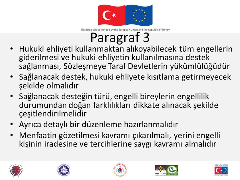 Paragraf 3 Hukuki ehliyeti kullanmaktan alıkoyabilecek tüm engellerin giderilmesi ve hukuki ehliyetin kullanılmasına destek sağlanması, Sözleşmeye Tar