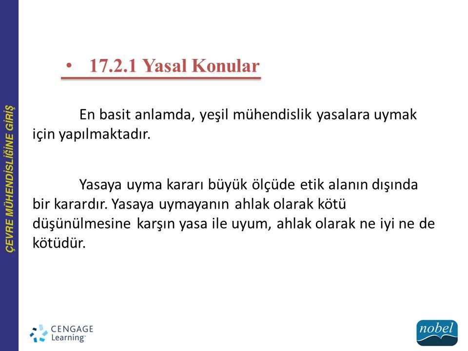 17.2.1 Yasal Konular En basit anlamda, yeşil mühendislik yasalara uymak için yapılmaktadır.