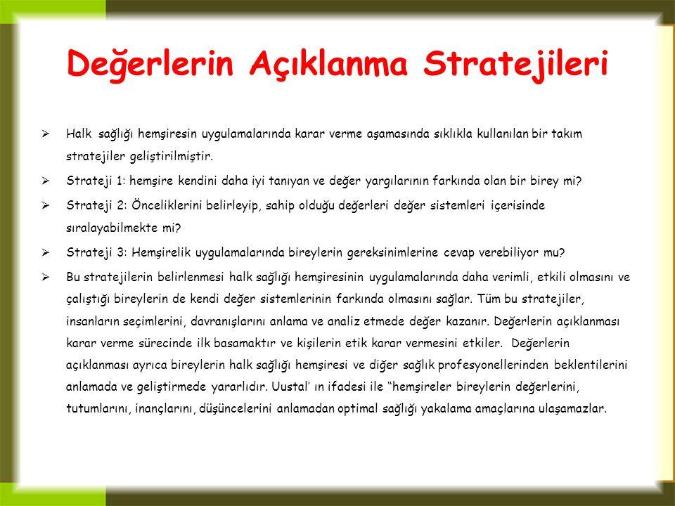 Değerlerin Açıklanma Stratejileri  Halk sağlığı hemşiresin uygulamalarında karar verme aşamasında sıklıkla kullanılan bir takım stratejiler geliştiri