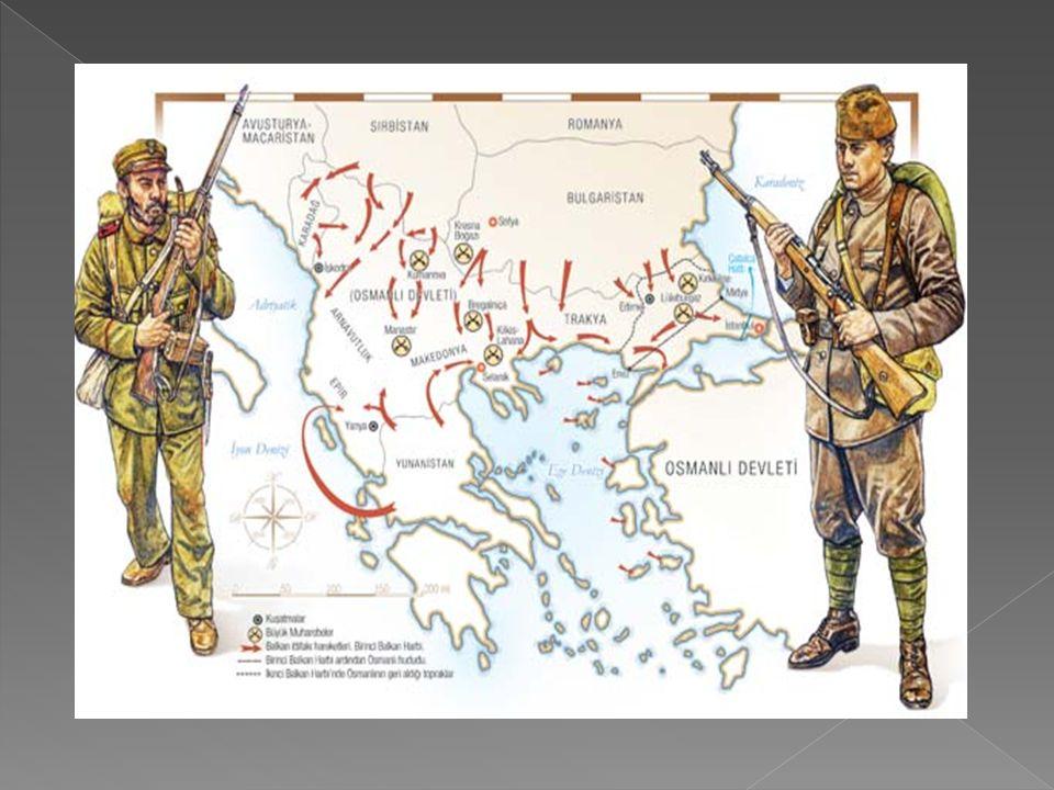  I.Balkan Savaşı  Sebepleri:  a-Rusya'nın izlediği Panislavizm ve sıcak denizlere inme politikası. Bu amaçla Balkan Devletleri'ni Osmanlı aleyhine